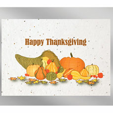 Happy Thanksgiving Floral Seed Paper Holiday Card w/Stock or Custom Message