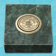 Green Marble Paperweight with medallion