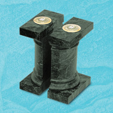Green Marble Bookends with medallions