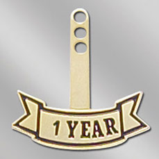 1 Year Recognition Stock Year Tab for Service Pin
