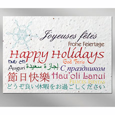 Languages Floral Seed Paper Holiday Card w/ Stock or Custom Message