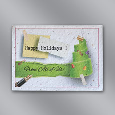 Office Floral Seed Paper Holiday Card w/ Stock or Custom Message