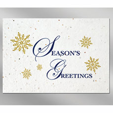 Snowflakes Floral Seed Paper Holiday Card w/ Stock or Custom Message